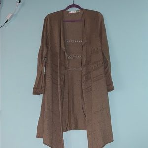 Max Studio- tan cardigan (long)